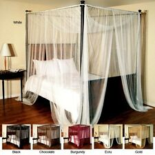 Sheer Four-Poster Bed Canopy Flat Panels 96x76x86 Inches Cover 100% Polyester