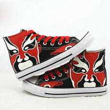 Chinese Culture Beijing Opera Facial Masks Shoes Lovers Black Canvas Sneakers