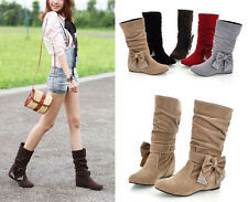 2014 New Fashion Women Winter Boots Bow Mid-Calf Flat boots Shoes 5 Colors