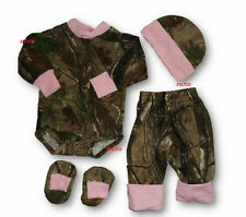 JLCK Realtree & Pink Camo Baby Girl Long Sleeve Outfit, Pants, Hat & Booties SET