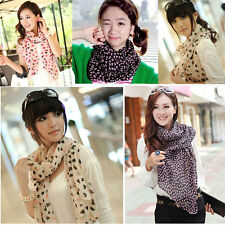 Hot Womens Girl Colorful Heart Printed Chiffon Scarf Wraps Shawls Stole 160*45cm