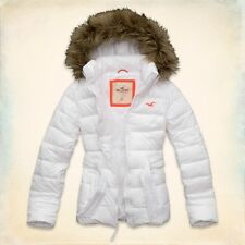 Hollister White Point Parka Puffer Frost Free Faux Fur Quilted Coat Jacket L XL