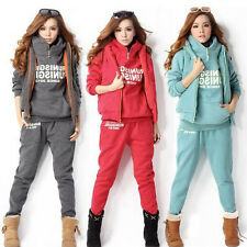 Women's Autumn Winter Warm Coat+Vest+Pants Casual Suit Tracksuit Hoodies Sports