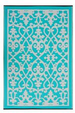 Fab Habitat - Indoor/Outdoor Rug - Venice Cream & Turquoise