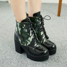 Women Chic Chuky High Heel Motorcycle Platform Lace Up Multicolor Ankle Boots Sz