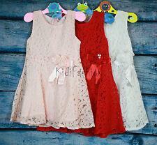 Girls Princess Party Prom White Lace Sleeveless Flower Dress age 3-24 Months