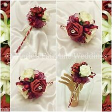 WEDDING FLOWERS, FLOWER GIRL BRIDESMAID WAND SILK FOAM ROSES BURGUNDY +OTHER COL