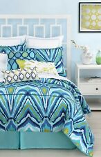 TRINA TURK BLUE PEACOCK DUVET COVER ON TWIN FULL QUEEN OR KING BLUE TONES