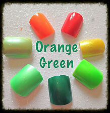 NEW~ 20 Hand Painted Plain Orange & Green False Nails ~ Toe Nails