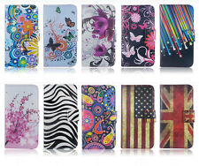 Fashion Flip Printed Stand ID Card Wallet Synthetic Leather Case Cover For Phone