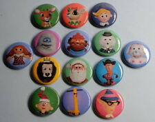 """ISLAND OF MISFIT TOYS PIN 1"""" Rudolph Red-Nosed Reindeer Hermey Clarice Christmas"""