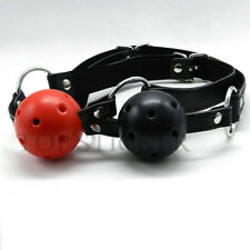 Mouth Ball Gag Harness Bondage Restraints Adult Sex Toy Leather Strap Two Colors