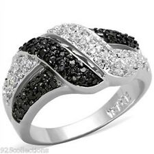 Clear Black CZ Stone Lady Pave Ring Size 5-10 925LO3401