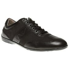 New Mens Armani Jeans Black Formal Sneaker Leather Shoes Statement Sneakers Lace