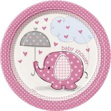 "BABY SHOWER UMBRELLAPHANTS PINK GIRLS PARTY SUPPLIES 7"" PAPER PLATES CHOOSE AMNT"