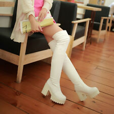 2014 New Sexy Women's winter thicken high heel block plate form Over knee boots