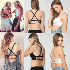 Sexy Celebrity Women Bralette Cage Caged Back Cut Out Padded Bra Bralet Crop Top
