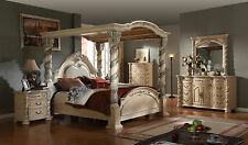Pallazo Bedroom Set Post Bed Antique White Cherry Brown