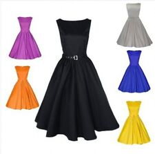 Women's Vintage Retro style Solid Swing Party Pinup Rockabilly Belt Dress 50s