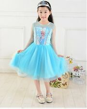 2014 Kids Girls Disney Elsa Frozen Dress Costrme Princess Anna Party Dresses