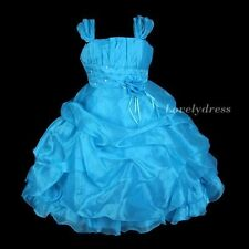 NEW Flower Girl Wedding Pageant Party Bridesmaid Dress Wear Set Blue SZ 4-9 Q584