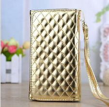 Gold Grid PU Leather Wristlet Purse Wallet Case Cover For Multi Phone Model 4.3