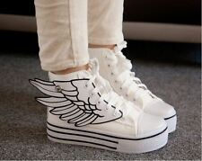 Women's Cool wings high heel Platform high top canvas  Sneakers white shoes