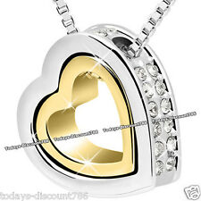 TWIN HEART TWO TONE CRYSTAL NECKLACE GOLD LOVE WIFE SISTER MUM XMAS GIFT FOR HER