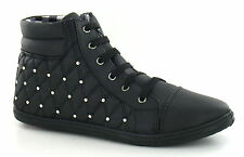 OCTAVE® Ladies High Top Lace Up Ankle Boots / Pumps Black with Silver Stud