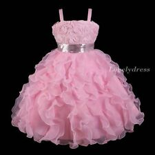 NEW Flower Girl Wedding Pageant Party Bridesmaid Dress Wear Set Pink SZ 4-9 Q251