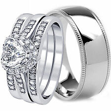 TITANIUM 6MM Mens Band and Womens Engagement Wedding Zigzag CZ Ring Set His Hers