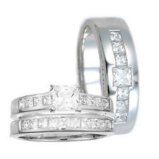 3 pc His Hers STERLING SILVER Princes Cut Engagement Wedding Ring Set Men Womens