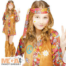 Peace Hippy Girls 1960s Fancy Dress Childrens 60s Hippie Kids Childs Costume New