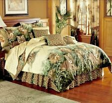 Safari Jungle LEOPARD LION TIGER Wild Cat Beige Brown Animal Print Comforter Set