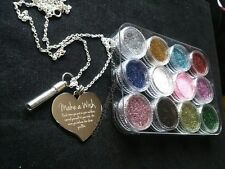 Personalised Photo & Text Engraved Large Heart Necklace With Pixie Dust