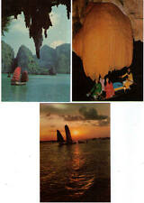 POSTCARDS SELECTION HALONG BAY VIETNAM OLD WOMAN ISLET STALAGMITE SAILING BOAT