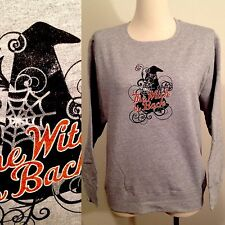 New JMS JUST MY SIZE Hanes Gray THE WITCH IS BACK Halloween Sweatshirt Women's