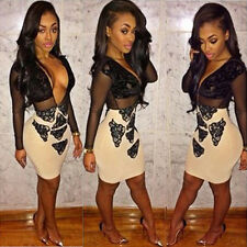 Hot Woman's See-through Mesh Bandage Patchwork Skinny Evening Party Club Dress