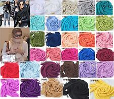 Pashmina Cashmere Silk Solid Shawl Wrap Unisex Long Range Scarf Pure Color