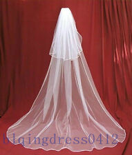 New 2 layers white/Ivory Wedding Bridal veil Cathedral Length with comb