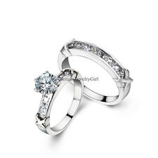 2pcs Stainless Steel Infinity Round Cut  Cz Bridal Engagement Wedding Rings Set
