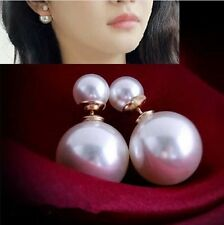 Double Pearl Pair Pearlized Ear Stud Womens Earrings Chic Accessary