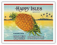 Pineapple Hawaii Aloha Happy Isles Vintage Can Label Art Poster Print Giclée
