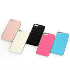 Fashion Leather Back & Chrome Hard Frame Case Cover Fit iPhone 5&5S