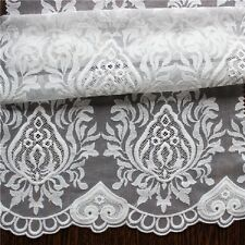 "WHITE/ IVORY EMBROIDERED FLORAL MESH CORD BRIDAL LACE FABRIC 5YDS LOT 52"" WIDE"