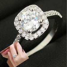 Dazzling Princess Cut Clear white Sapphire Sterling silver Plated Ring Size 5-9