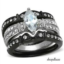 2.50 CT MARQUISE CUT CZ BLACK STAINLESS STEEL WEDDING RING SET WOMEN'S SIZE 5-10