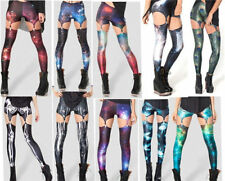 Galaxy Purple Suspenders Digital New 2014 fashion women Digital print Leggings1