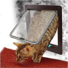 Cat Door Flap 4 Way Magnetic Lockable Dog Kitty Pet safe Size S/M/L Coffee White