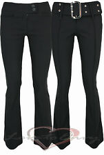 LADIES TROUSERS QUALITY BLACK FITTED BOOT CUT TROUSERS  6-14 & 3 LEG LENGTHS.